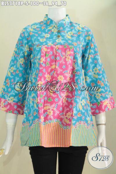 Produk Blus Batik Dua Warna Biru Dan Pink, Baju Batik Wanita Muda Dan Remaja Putri Tampil Lebih Modis Dan Gaya, Size S