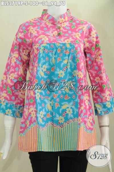 Batik Blus Dual Motif Kombinasi Warna Pink Dan Biru, Jual Batik Desain Terkini Kwalitas Halus Harga Murah Meriah Proses Print, Size S