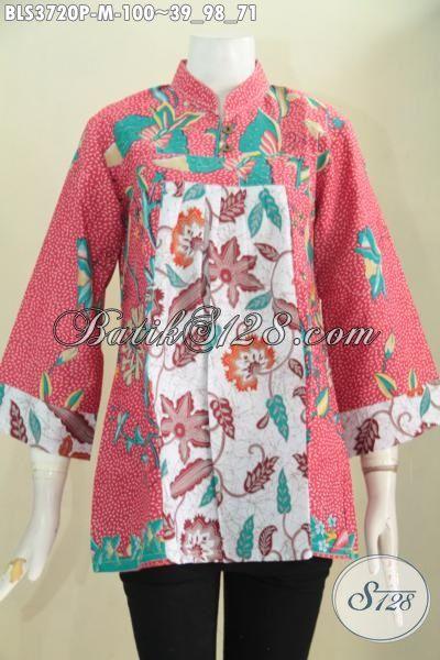 Pakaian Batik Blus Dual Motif Dan Dual Warna, Baju Batik Printing Desain Berkelas Bikin Cewek Terlihat Anggun Dan Cantik, Size M