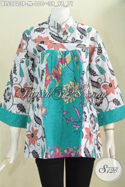 Pedagang Baju Batik Online Sedia Blus Batik Model Terkini Lebih Keren Dan Fashionable, Pakaian Batik Dua Motif Kwalitas Halus Proses Print Bikin Cewek Tampil Beda [BLS3723P-M]