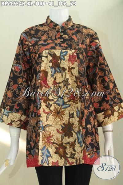 Pakaian Batik Terkini Buat Wanita Karir Aktif, Baju Batik Jawa Istimewa Bisa Buat Acara Resmi Dan Santai, Blus Batik Printing Modis Halus Harga Terjangkau, Size XL