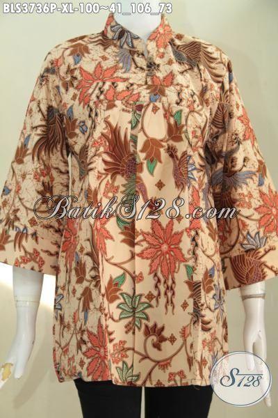 Blus Batik Warna Cream Model Terkini Buat Wanita Dewasa Tampil Lebih Mempesona, Baju Batik Elegan Ukuran XL Proses Print Motif Bunga, Di Jual Online