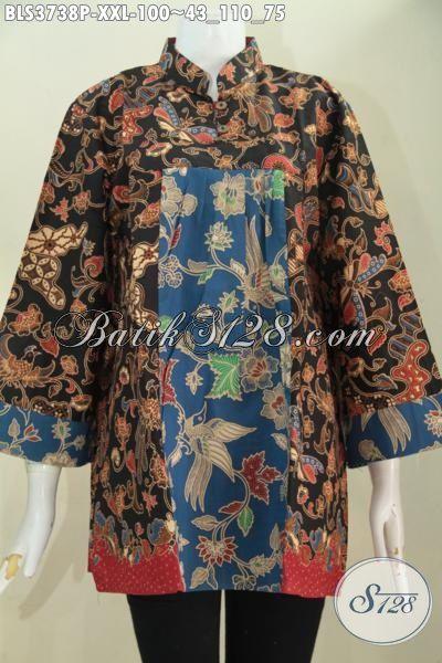 Jual Online Baju Batik Dua Motif Buatan Solo, Berbahan Halus Batik Printing Kwalitas Istimewa, Busana Batik Berkelas Model Bagus Wanita Gemuk Bisa Tampil Lebih Gaya, Size XXL
