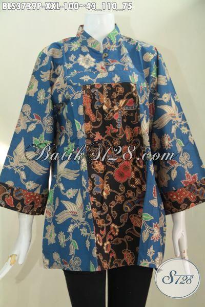Blus Batik Jumbo Kombinasi Biru Dan Hitam, Baju Batik Elegan Dua Motif Hadir Dengan Model Keren Trend Terkini, Baju XXL Wanita Gemuk Terlihat Lebih Modis