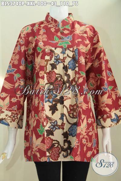 Produk Busana Batik Blus Elegan Ukuran 3L, Baju Batik Wanita Gemuk Karir Aktif, Batik Printing Dual Motif Bunga Warna Dasar Merah Kombinasi Cream Asli Buatan Solo
