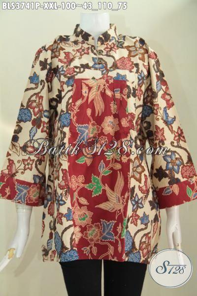 Online Shop Busana Batik Jawa Terlengkap, Sedia Blus Batik Solo Size XXL Spesial Buat Wanita Gemuk, Baju Batik Printing Model Mewah Harga Murah