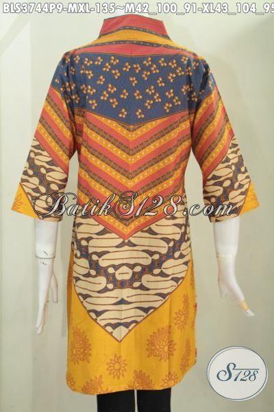 Blus Batik Printing Desain Formal Motif Kombinasi Warna Cerah Nuansa Klasik, Pakaian Batik Panjang Lengan Tiga Perempat Pas Buat Seragam Kerja Wanita Karir, Size M – XL