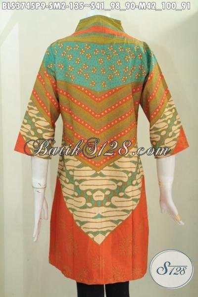 Baju Batik Blus Modern Classic Desain Terbaru Terlihat Mewah Dan Anggun, Baju Kerja Batik Printing Masa Kini Modis Buat Ke Kantor Serta Trendy Buat Pesta, Size S – M