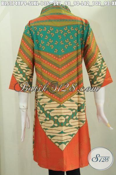 Online Shop Batik Jawa Spesial Buat Wanita Karir, Sedia Blus Batik Baju Kerja Motif Elegan Berpadu Warna Mewah Tampil Makin Modis, Batik Print Halus Harga Terjangkau [BLS3748P-L]