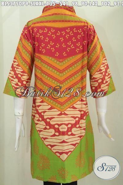 Toko Pakaian Batik Terlengkap Sedia Blus Kerja Berbahan Halus Motif Klasik Warna Modern Proses Printing, Membuat Penampilan anggun Dan Modis, Size S – L – XXL