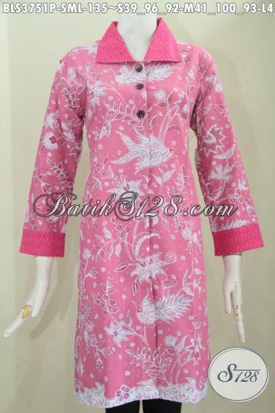 Batik Blus Warna Pink Model Terbaru Berbahan Halus Proses Print Dengan Motif Trendy Sekali, Cocok Buat Remaja Putri dan Perempuan Muda, Size S – M – L