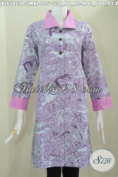 Batik Blus Ungu Model Terbaru Lebih Modis Dan Berkelas, Baju Batik Dan Berbahan Halus Kwalitas Bagus Harga Terjangkau Untuk Perempuan Muda Dan Dewasa [BLS3753P-S]