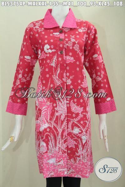 Busana Batik Blus Warna Merah Desain Keren Motif Bagus Banget, Baju Batik Printing Kwalitas Istimewa Tampil Mewah Harga Murah, Size M – XL – XXL