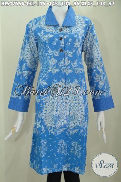 Jual Pakaian Bati Biru Motif Terkini Proses Printing, Busana Santai Batik Solo Desain Mewah Tampil Berkelas Hanya 100 Ribuan Saja, Size L