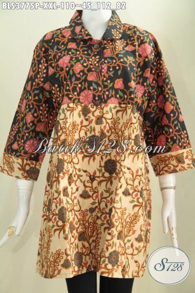 Pakaian Kerja Batik Blus Kerah Bulat ukuran 3L, Busana Batik Istimewa Buat Wanita Gemuk Motif Bunga Dengan Warna Elegan Tampil Lebih Stylish, Size XXL