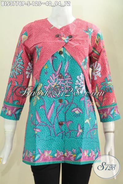 Produk Blus Batik Terbaru Model Kombinasi Balero, Pakaian Batik Paling Trendy Saat Ini Untuk Kerja Dan Ke Pesta Proses Printing, Size S