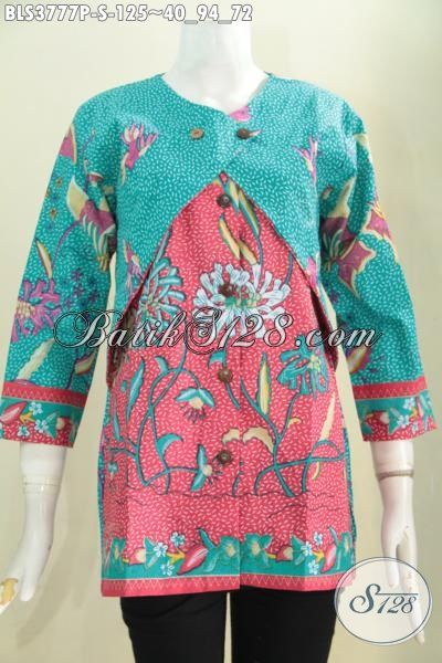 Jual Online Busana Batik Blus Dua Warna Motif Trendy Model Kombinasi Balero, Baju Batik Wanita Proses Print Murmer Muda Dan Remaja Putri Tampil Modis Dan Bergaya [BLS3777P-S]