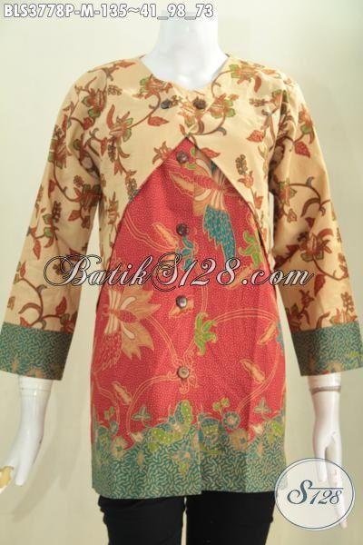 Produk Busana Batik Wanita Muda Dan Dewasa Desain Blus Kombinasi Balero, Baju Batik Jawa Halus Proses Printing Buatan Solo Tampil Gaya Setiap Hari, Size M