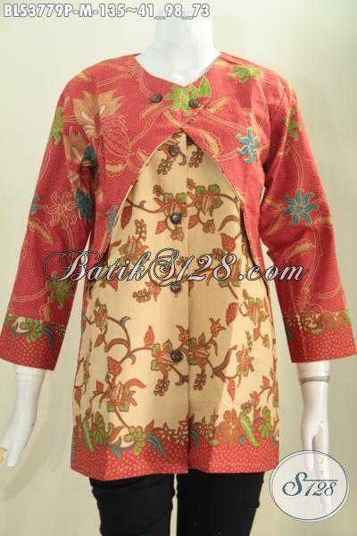 Jual Busana Batik Cewek Yang Banyak Di Cari Saat Ini, Produk Busana Batik Blus Kombinasi Balero Berbahan Halus Proses Print Modis Dan Mewah, Size M