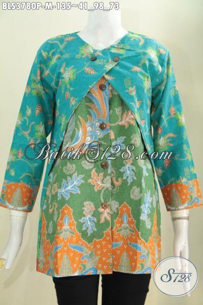 Baju Blus Batik Model Kombinasi Balero, Pakaian Batik Wanita Muda Motif Bagus Kombinasi Warna Keren Tampil Lebih Beken, Size M