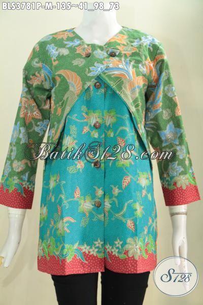 Blus Batik Warna Hijau Kombinasi Biru Dengan Aksesn Merah Keren Banget, Baju Batik Kombinasi Balero Motif Trendy Bahan Halus Proses Print Untuk Tampil Makin Modis [BLS3781P-M]