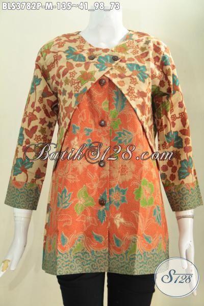 Baju Blus Batik Jawa Buatan Solo Model Kombinasi Balero, Pakaian Batik Dua Warna Dan Motif Membuat Cewek Terlihat Lebih Anggun Dan Cantik Maksimal, Size M