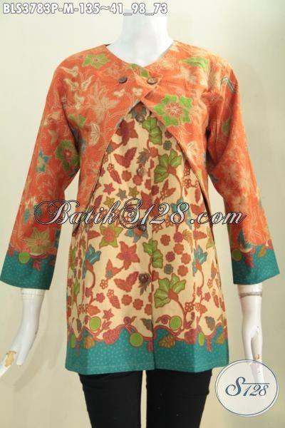 Blus Balero Batik Berbahan Halus Motif Keren Kombinasi Warna Berkelas Trend Mode Pakaian Kerja Wanita Karir Terkini Yang Banyak Di Cari, Size M