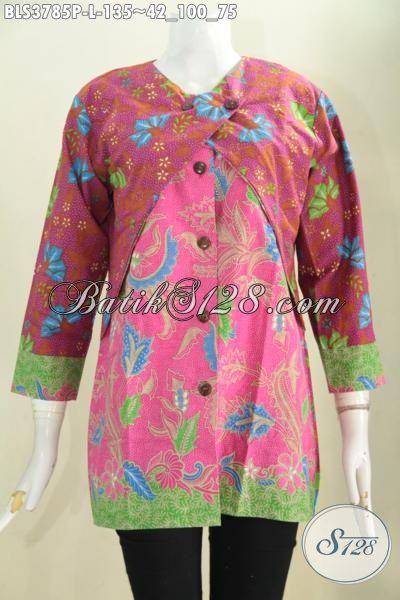 Warna Merah Kombinasi Pink Aksen Hijau Blus Batik Terkini Baju Batik