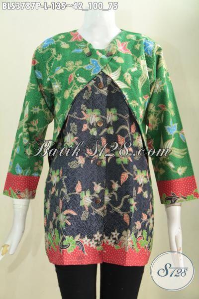 Blus Batik Keren Dari Solo, Pakaian Batik Wanita Modern Desain Kombinasi Balero Dengan Dua Warna Dan Motif Bikin Penampilan Semakin Berkelas, Size L