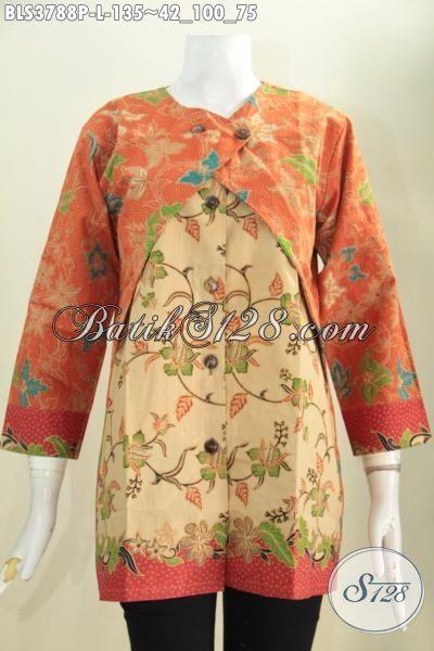 Jual Pakaian Batik Kerja Elegan Desain Mewah Kombinasi Blus Dan Balero, Baju Batik Jawa Istimewa Motif Mewah Proses Printing Harga Terjangkau [BLS3788P-L]
