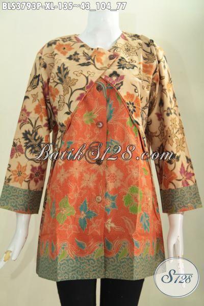 Toko Busana Batik Jawa Online, Sedia Baju Kerja Batik Cewek Model Blus Kombinasi Balero Proses Print Tampil Modis Dan Berkharisma, Size XL