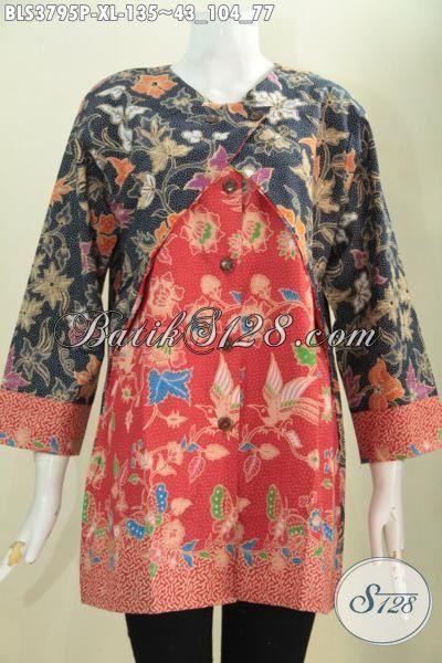 Jual Pakaian Batik Tiga Warna Dan Motif Model Blus Kombinasi Balero, Baju Modis Proses Print Buat Wanita Dewasa Tampil Mewah Dan Berkelas, Size XL