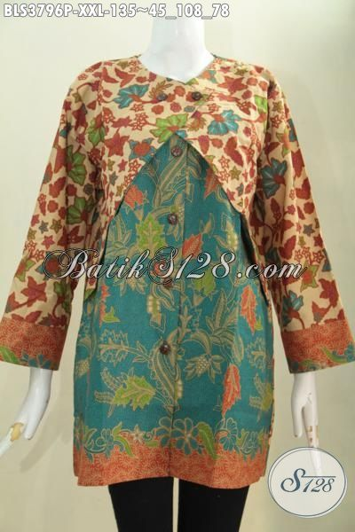 Baju Blus Jumbo Model Terbaru Pakaian Batik Kombinasi Desain Balero
