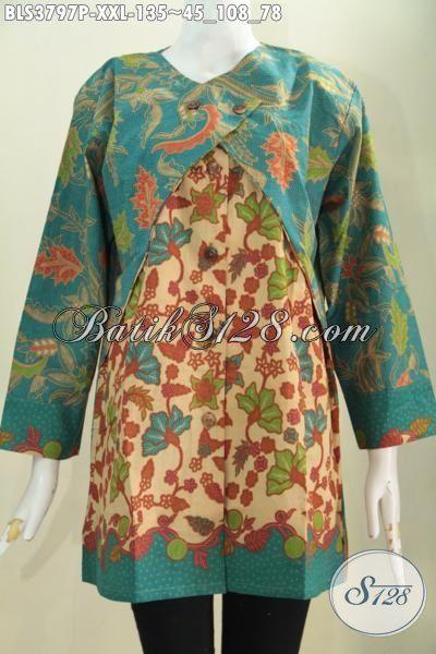 Baju Blus Batik Proses Printing Desain Mewah Kombinasi Balero Berpadu Warna Warni Trendy Khas Wanita Modern Untuk Tampil Makin Memikat, Size XXL