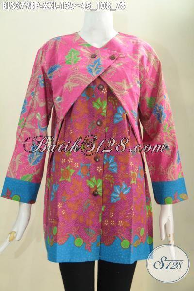 Baju Batik Trendy Model Blus Kombinasi Balero, Pakaian Batik Wanita Gemuk Ukuran 3L Proses Printing Berbahan Halus Harga Terjangkau, Size XXL