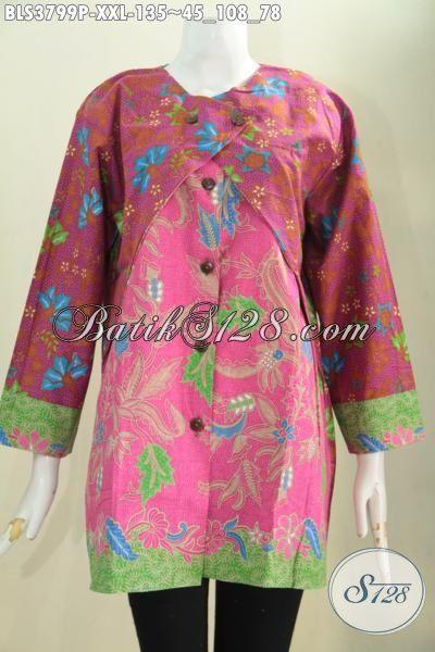 Jual Baju Batik Seragam Kerja Wanita Karir, Pakaian Batik Motif Dan Warna Kombinasi Desain Spesial Cewek Gemuk Kantoran Tampil Anggun, Size XXL