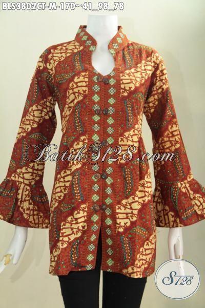 Baju Batik Klasik Model Blus Kerah Shanghai, Busana Batik Ujung Lengan Mekara Proses Cap Tulis Buatan Solo Tampil Lebih Berkharisma, Size M