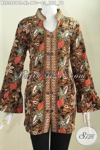 Baju Batik Wanita Dewasa Desain Mewah Bahan Halus Proses Cap Tulis, Busana Batik Blus Kerah Shanghai Elagan Tampil Modis Dan Mewah Dengan Ujung Lengan Mekar, Size XL