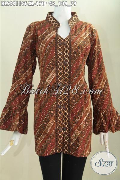 Jual Online Blus Batik Kerah Shanghai Ujung Lengan Mekar Motif Parang, Baju Batik Modern Cap Tulis Kwalitas Halus hanya 100 Ribuan, Size XL