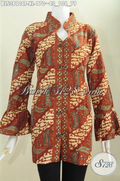 Blus Batik Klasik Desain Elegan Kerah Shanghai Modis Buat Ke Kantor, Baju Batik Ujung Lengan Mekar Trendy Buat Acara Resmi, Proses Cap Tulis Ukuran XL