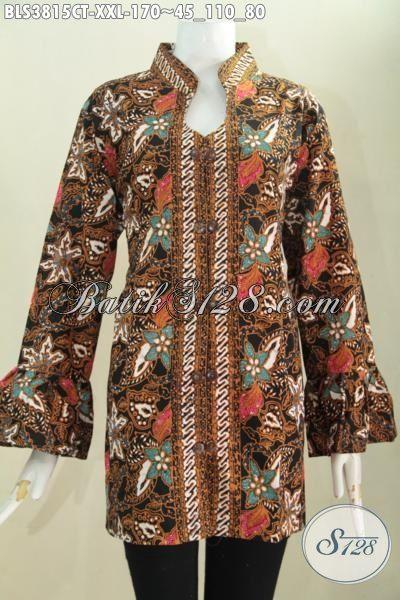 Blus Batik Bunga-Bunga Model Terkini Kerah Shanghai Pilihan Tepat Wanita Karir Terlihat Mempesona, Baju Batik Cap Tulis Solo Spesial Buat Wanita Gemuk Tampil Elegan, Size XXL
