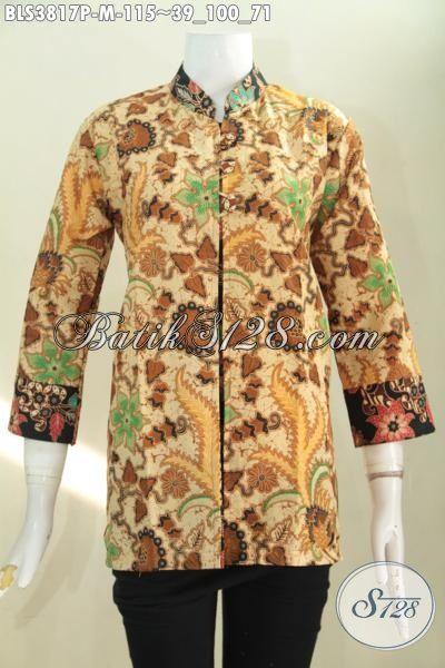 Busana Elegan Desain Formal Proses Printing Dual Motif, Baju Batik Pias Terbaru Membuat Wanita Terlihat Rapi Dan Berkelas, Size M