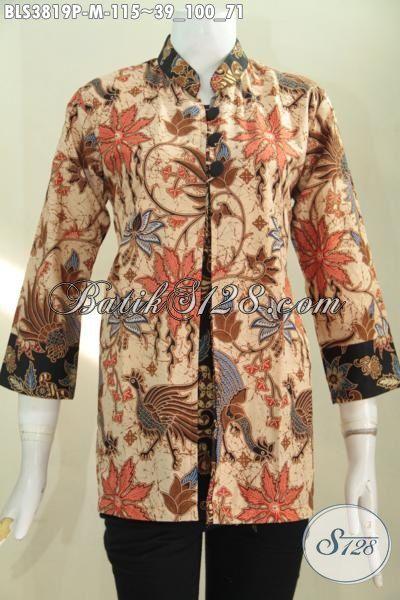 Batik Blus Bahan Berkwalitas Bagus Harga Terjangkau, Busana Batik Printing Trendy Model Pias Kancing Depan Pilihan Tepat Buat Tampil Anggun Dan Cantik [BLS3819P-M]