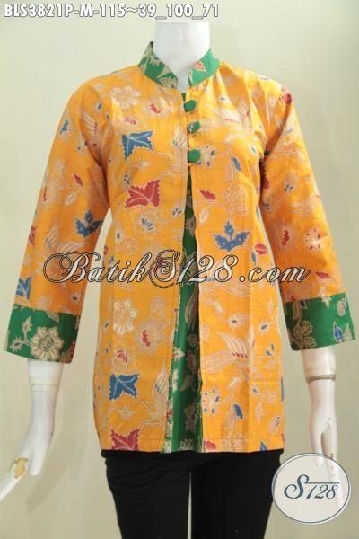 Jual Baju Blus Batik Penunjang Penampilan Wanita Karir Masa Kini, Busana Batik Model Pias Warna Kuning Kombinasi Hijau Desain Inovatif Dan Berkelas Proses Printing [BLS3821P-M]