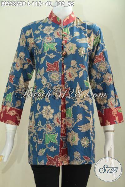 Blus Blus Pias Kombinasi Biru Dan Merah Motif Bunga Dengan Desain Inovatif Yang Mewah Dan Elegan, Baju Batik Printing Solo Halus Harga Terjangkau [BLS3824P-L]