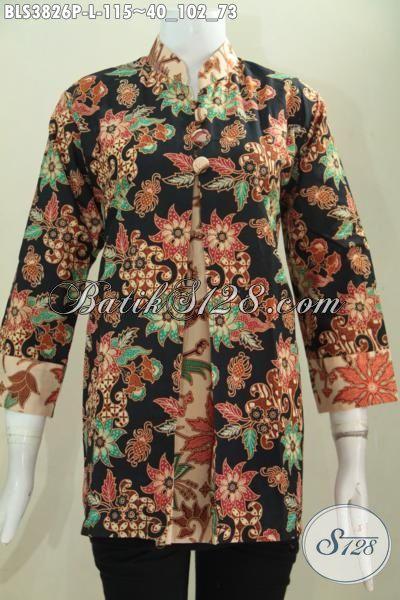 Produk Baju Batik Formal Model Pias Buat Wanita Modern, Baju Blus Paling Keren Saat Ini Untuk Tampil Lebih Mempesona, Size L