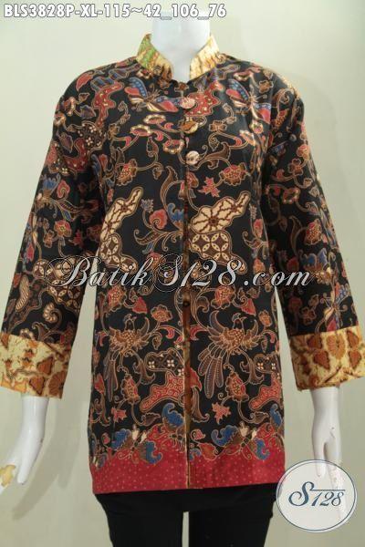 Baju Batik Ukuran XL Buat Cewek Dewasa, Blus Batik Pias Elegan Motif Terkini Proses Printing, Bisa Buat Kondangan Dan Pesta Formal, Size XL