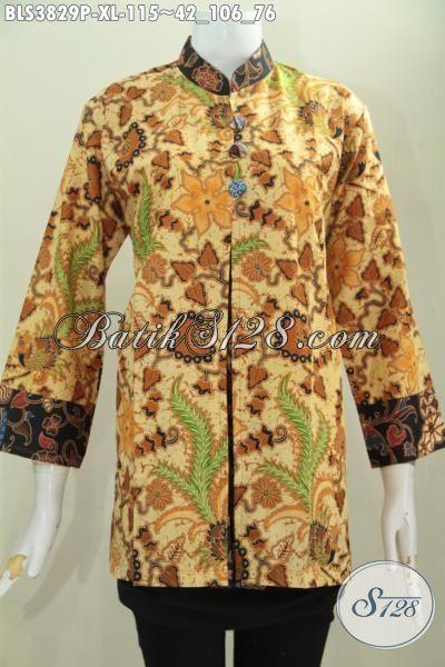Batik Blus Terbaru Model Pias Berbahan Halus Dan Adem, Baju Batik Formal Buat Ke Kantor Proses Print Tampil Mewah Gak harus Mahal, Size XL