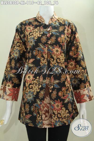 Juragan Baju Batik Solo, Jual Online Blus Batik Elegan Model Pias Kancing Depan, Busana Batik Dua Warna Trendy Bisa Buat Kerja Dan Hangouts, Proses Print [BLS3830P-XL]