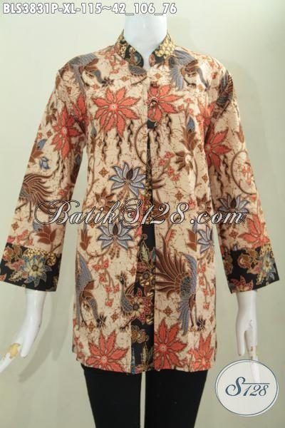 Busana Batik Lengan Tiga Perempat Proses Print, Blus Batik Pias Trend Baju Kerja Wanita Karir Masa Kini Makin Keren Dan Mewah, Size XL